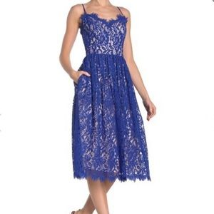 Eliza J blue lace fit and flare dress size 10